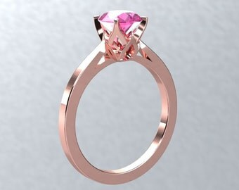 Sapphire Engagement Ring BLOOMED LOVE Collection 18kt Rose Gold Pink Sapphire VVS 1.00ct Solitaire Engagement Ring Wedding Ring