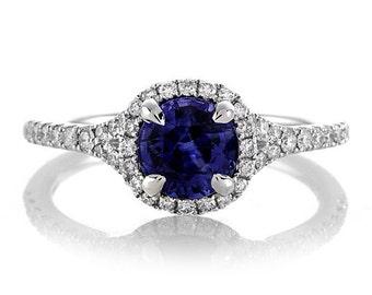 Sapphire Diamond Halo Ring 1ct Center Round Genuine Blue Sapphire and Diamonds .27ct Engagement Ring Pristine Custom Rings