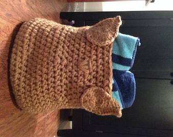 Handmade Crochet Owl Storage Basket!!