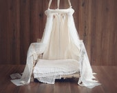 Newborn Canopy Photo Prop, hanging fabric canopy prop, lace and cotton fabric canopy photography prop, ship wordwide