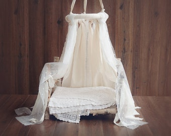 CANOPY Cotton and Lace - Newborn Canopy Photo Prop, photography props, newborn props, clear stile, minimalistic style prop, vintage style