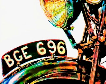 Giclee Print Vintage English Motorcycle Texas Art