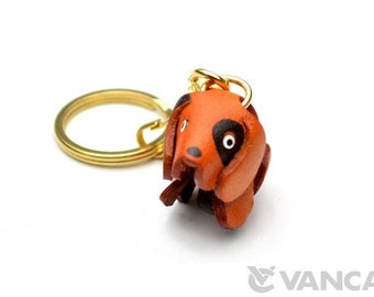 Dog 3D Leather Keychain(L) *VANCA* Made in Japan #56281 Free Shipping