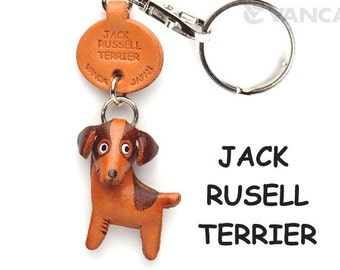 Jack Russell 3D Leather Dog Keychain Keyring Purse Charm Zipper pull Accessory *VANCA* Made in Japan #56736 Free Shipping