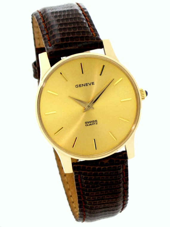 14k gold swiss movement american made mens geneve the