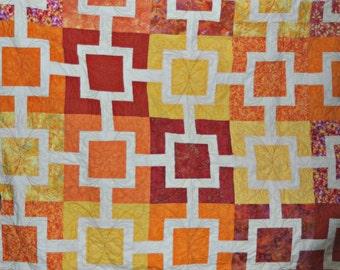 Modern Patchwork Quilt / Sunset Blanket / Monochromatic Orange Lap Quilt