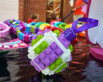 Lavender 3D Building Blocks Christmas Ornament Lime Lavender made with LEGO Bricks