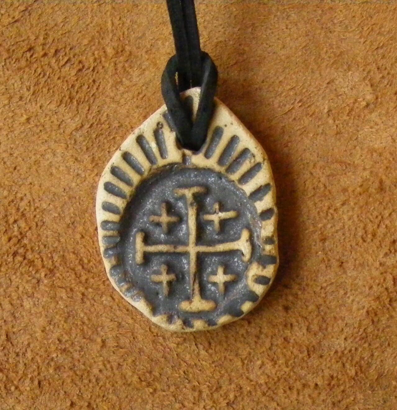 jerusalem cross clay pendant by vlodarius on etsy