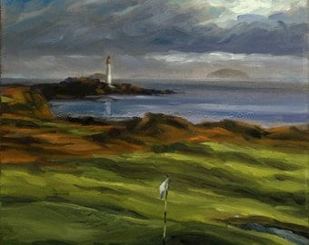 Golf Art. Golf Course Painting. Golf Gift. Turnberry Ailsa Golf Club, Scotland. Print of original oil painting.
