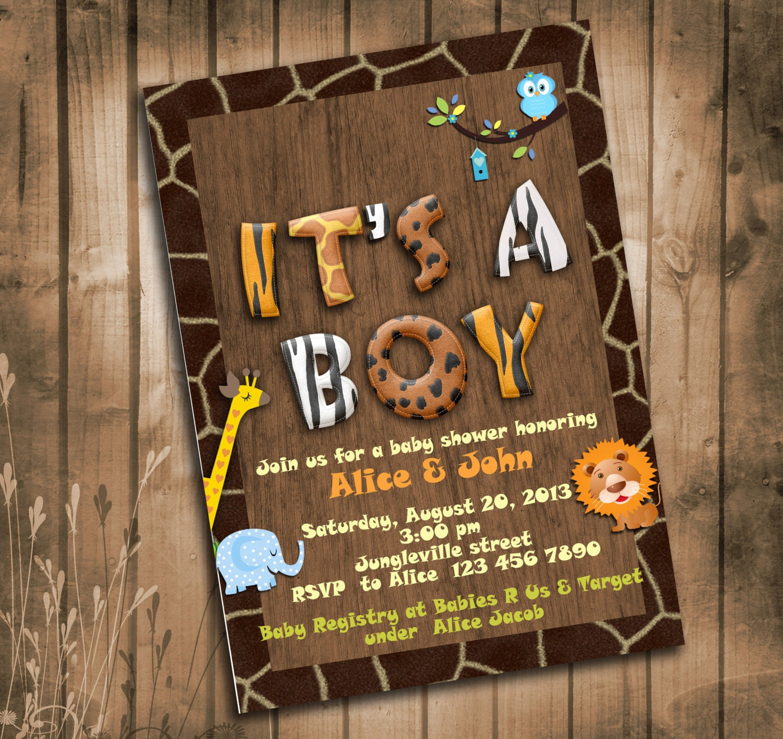 Jungle Animals Safari Baby Shower Invitation with Giraffe