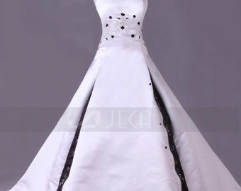 Black & White Wedding Gown Available in Various Colors