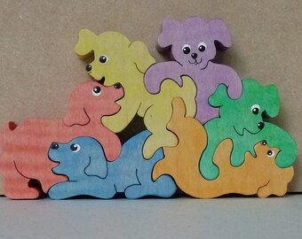 Playful Puppies Colorful Handmade Wooden puzzle