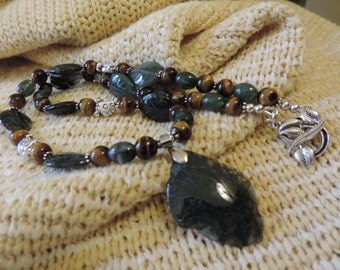 Set, Beautifully Veined Green Moss Agate, Engraved Leafs, Golden Tiger Eye, & Turtles in Sterling Silver Necklace and Earrings Set