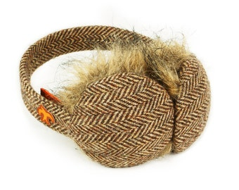 Brown Herringbone and Faux Fur Earmuffs