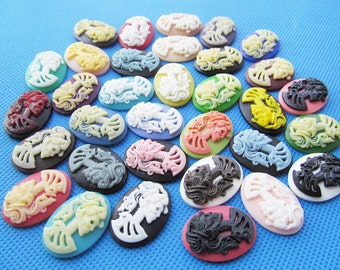 18mmx25mm Mixed Color Oval Flatback Resin Beaty Skull Head Cabochon/Cameo Charm/Finding,fit Base Setting Tray,Decoration Kit,DIY y Accessory