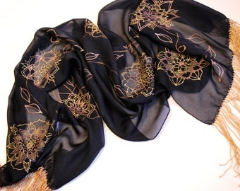 Silk scarf , Black silk scarf, Hand painted silk, Mother' day gift, mom gift