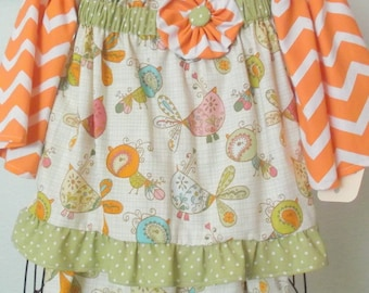 ReadyTo Ship! Girls/Toddler  Adorable Whimsical Fall  Chevron 2 PC Ruffle Pant Set Size 2T-3T