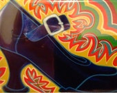 """bright, fun, colorful, whimsical, spiritual magnet of an original acrylic painting: """"Sole Mate"""""""