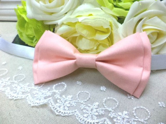 Peach bow tie, wedding bow tie, men's bow tie, pastel bow tie, cream bowtie, shabby chic, retro, spring, garden, double layer bow, pre-tied