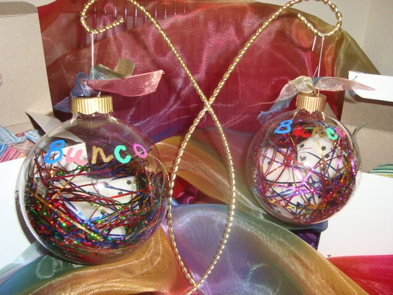 bunco ornaments with soft dice  u0026 tinsel inside
