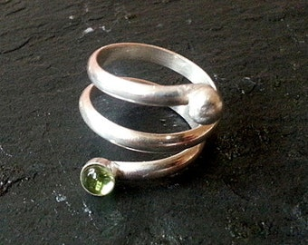Silver Spiral Coil Ring with Peridot sterling silver spiral ring