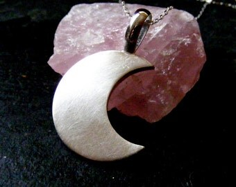 Silver Moon Pendant necklace Crescent moon