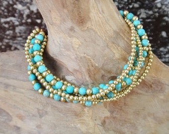 Six lines Turquoise and Brass Bracelet