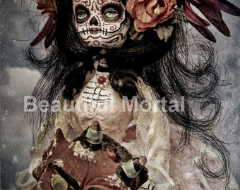 Beautiful Mortal Dia De Los Muertos Doll in Clouds with Devil Canon PRINT 535 Reproduction by Michael Brown