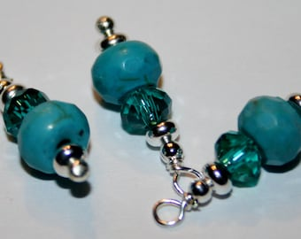 "BC-002 ""Teal and Turquoise"" beaded charms"