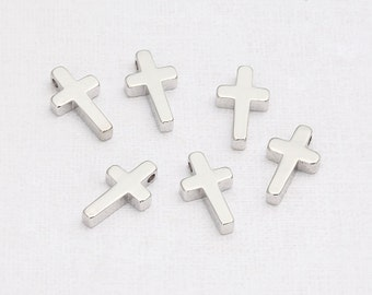 Cross Beads Polished Rhodium-Plated - 4 Pieces<TT0003-PR>
