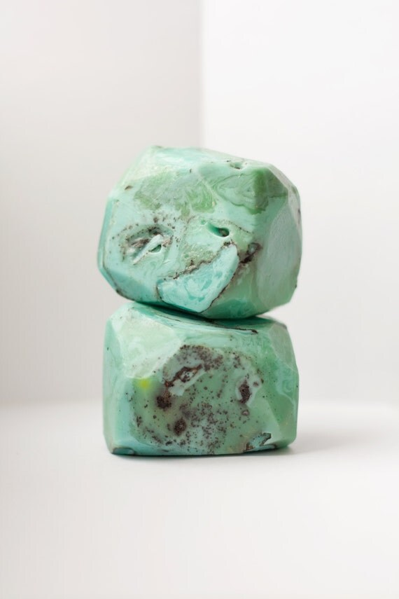 Natural Turquoise  Soap Rock With Natural Moistening Oils And Essential Oils, Handmade Aromatherapy Soap Stone, Gem Soap