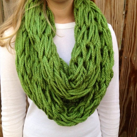 Green Arm Knit Scarf, Chunky Cowl, Infinity Scarf, Spring Accessory, Mother's Day Gift