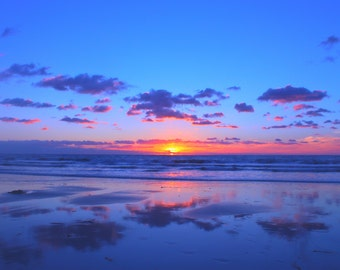 Cloud Shadows, Blue, Purple, Pink Sunset, Beach Photography, Carlsbad, California