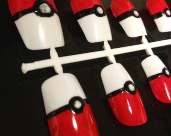 Hand Painted Pokeball Pokemon Cosplay False Nails