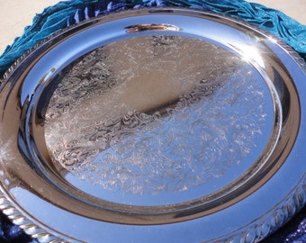 "Round 15"" Oneida Silver Tray - Maybrook Silverplate (in original box)"