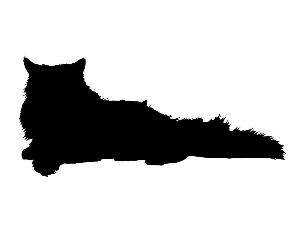 Persian Cat Silhouette Custom Die Cut Vinyl Decal Sticker