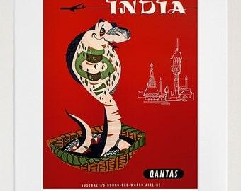 India Art Wall Print Cobra Travel Poster (TR47)