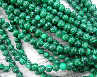 8mm artificial malachite round beads, 15.5 inch