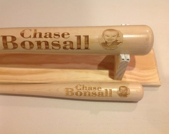 Personalized Wood Baseball Bat with Picture & Name Engraved - 34in or 22in