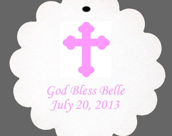 24 Personalized Baptism Cross Favor Scalloped Tags Party Favors