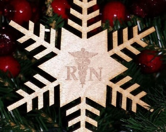 Laser Cut Registered Nurse Snowflake Ornament with Medical Insignia