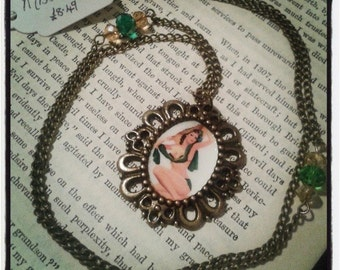 Vintage Green Pin Up Girl Necklace