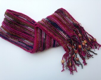 Berry Scarf with Beaded Tassels