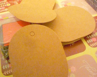 100 Oval Kraft paper blank Gift / Hang / Drawing/ Clothing Tags with strings