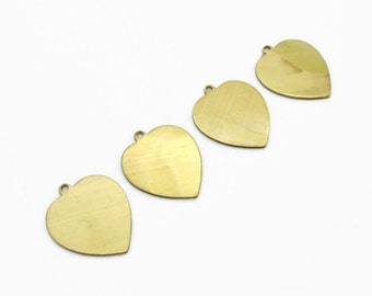 Brass Heart Stamping Blank pendants charms, 4pcs