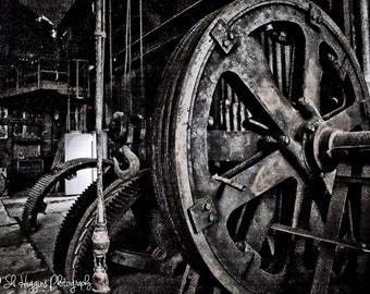 fine art photography print, industrial photography, steam punk, grainy, grunge photography, shabby wall art, home decor, office decor