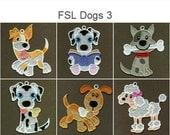 FSL Dogs Cute Animal Ornament Free Standing Lace Machine Embroidery Designs Instant Download 4x4 hoop 10 designs APE1770