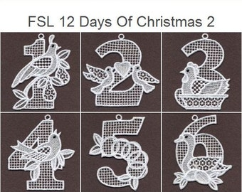 FSL 12 Days Of Christmas Ornament Free Standing Lace Machine Embroidery Designs Instant Download 4x4 hoop 12 designs APE1877