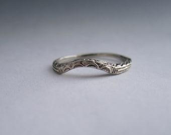 Vintage 14kt white gold wedding band ring