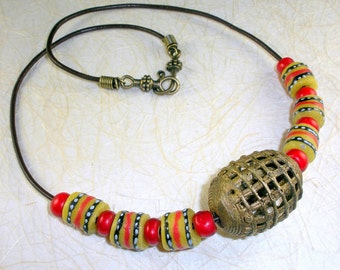 African trade bead leather cord necklace with eco friendly Baule, Ashanti recycled brass beads, Ghana, Krobo recycled glass beads #LN23